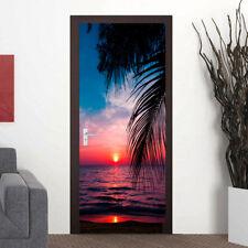 3D Sunset Tropical Beach Self Adhesive Bedroom Door Mural Wall Sticker Wallpaper