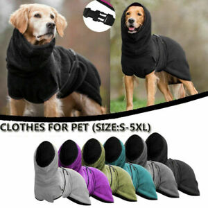 Pets Dog Clothes Towelling Drying Robe Puppy Warm Apparel Buckle Hoodie Bathrobe