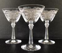 "Vintage Fostoria Romance Etched Elegant Glass Liquor Cocktails 5"" Set Of 3"