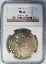 1881 S Silver Morgan Dollar NGC MS 65 Star Monster Rainbow Toner Toned Toning