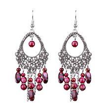 Bohemia Burgundy Crystal Hollow Tassel Earrings Retro Earring Women Jewelry