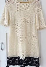 River Island Lace Off White Cream Gold Trim Dress Size 14 Wedding Occasion Party