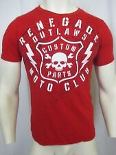 HELIX CUSTOM PART MOTO CLUB CREW NWCK GRAPHIC T-SHIRT SZ S RED 100% COTTON