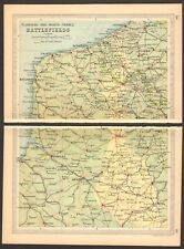 1930  SMALL VINTAGE MAP -  FLANDERS AND NORTH FRANCE BATTLEFIELDS