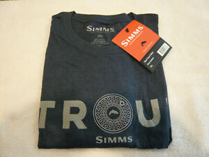 SIMMS Fishing Products TROUT T-Shirt Navy Gray Heather 2XL