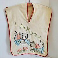 "Cat Kitten Laundry Bag Embroidery Vintage Wooden Hanger 21""x15"" Handmade Fabric"