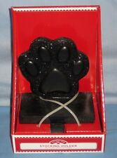 New In Box Christmas Stocking Hanger Holder Hooks Black Pet/Dog Paw W/Glitter!