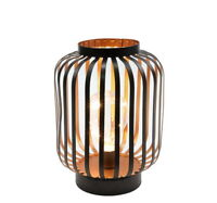 """8.7"""" High Metal Cage Decorative Lamp Battery Powered Cordless Warm White Light"""