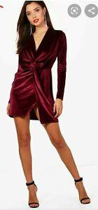 Boohoo RED BLACK Velvet Twist Front short mini sexy Bodycon Dress Berry UK 8 10