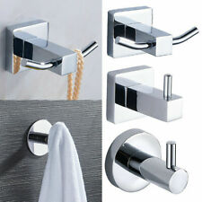 Single / Double Hook Bathroom Robe Towel Hooks Holder Hanger Chrome Wall Mounted