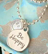 Silver 'Be Happy' Necklace. Don't Worry. Smile. Love. Inspire. Optimist