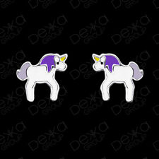 925 Sterling Silver Unicorn Stud Earrings Studs Girls Women Children Purple Kids