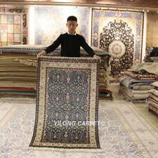 YILONG 3'x5' Blue Pictorial Hand-knotted Persian Handcraft Silk Carpet Rug 285H