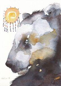 "ACEO GICLEE PRINT watercolor 2.5"" x 3.5"" Del Rio spirit bear 'Late Sleeper'"