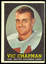 1958 TOPPS CFL FOOTBALL #3 VIC CHAPMAN ROOKIE  EX+ B C BRITISH COLMBIA LIONS RC