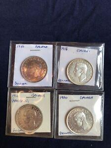 Lot 109: Canada Silver Dollar Lot 1946-1951 - 4 Coins - Key Dates - High Quality
