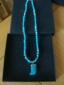 """New Turquoise ( reconstituted) 19""""  silver plated Necklace"""