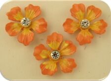 2 Hole Beads Flowers Orange Yellow~Clear Swarovski Crystal Elements~Sliders 3 pc