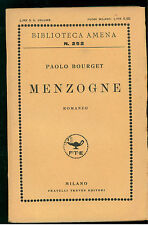 BOURGET PAOLO MENZOGNE TREVES 1928 BIBLIOTECA AMENA 252