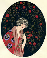1930s French Pochoir Print Young Flapper Woman Fashion w/ Roses Jacquelyn (S)