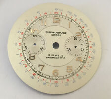 NOS Vintage Chronographe Suisse Dial for Venus, Landeron, Valjoux 34mm parts