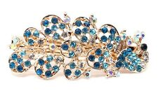 2 pieces small Barrette blue Rhinestones Crystal Metal peacock hair claws clip