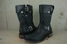 UGG CONOR BLACK LEATHER  MOTO  BOOTS  WOMENS US 8 NIB