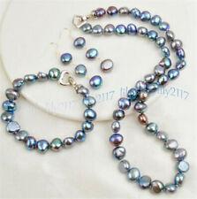 Natural 8-9mm Black Freshwater Baroque Pearl Necklace 18'' Bracelet Earrings Set