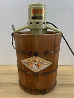 VTG White Mountain Electric Ice Cream Maker Freezer Orange Label Triple Motion