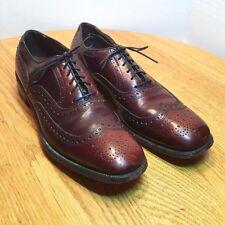 Allen Edmonds McAllister 9.5AA EXTRA NARROW Burgundy Wingtip Brogue Dress Shoes