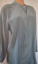 PESERICO TRICOT DUST BLUE 100% SILK LONG SLEEVES SHIRT PRIEST COLLAR SIZE 44