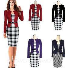 Womens Dress ladies plaid cardigan Vintage Office Wiggle Bodycon Plus Size tata
