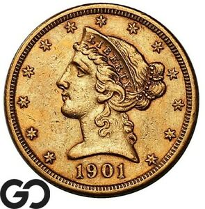1901-S Half Eagle, $5 Gold Liberty, Details ** Free Shipping!