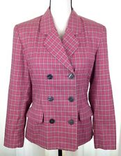 Vtg GAP Women's Plaid Blazer Size 4 Pink Cotton Lined Button Double Breasted