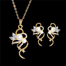 18k Gold Plated Crystal Pearl Pendant Necklace Stud Earrings Jewellery Set