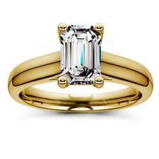Solitaire .82 Carat H/VVS2 Emerald Diamond Engagement Ring 14K Yellow Gold