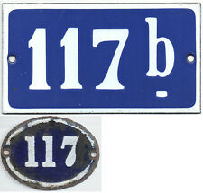 Old blue French house number 117 B door gate plate enamel sign - choice of 2