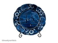 Antique Staffordshire Historical Blue Transfer Winter View of Pittsfield Plate