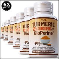 6 x TURMERIC STRONGEST BLACK PEPPER 10,000mg EXTRACT CURCUMIN 95% TUMERIC PILLS