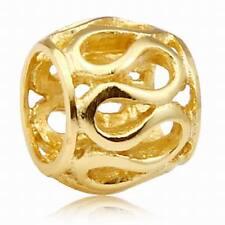 18K GOLD OVER 925 STERLING SILVER INFINITY CHARM BEAD FITS EUROPEAN BRACELET