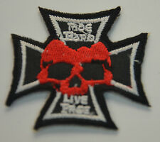 RIDE HARD LIVE FREE BIKERS  Embroidered Sew Iron On Cloth Patch Badge Jacket NEW