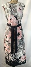Connected Womens Size 10 Floral Pink White Black Sleeveless Sheath Career Dress