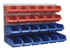 Sealey TPS132 24 Parts Storage Box/Bins/Tubs Red/Blue + Wall Panel Garage/Shed