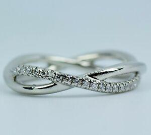 Platinum David Yurman Lanai Round White Diamond Twisting Band Ring Size 5.5