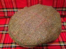 GREEN FLECK GOLD HARRIS TWEED FLAT CAP DRIVING HAT SCOTTISH BUNNIT FROM SCOTLAND