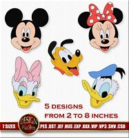 Embroidery design Disney, Set of 5 - Daisy Donald Duck Mickey Minnie Mouse Pluto