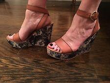 New Women's Miu Miu Designer Wedge Platform Sandals Size 40 US 10