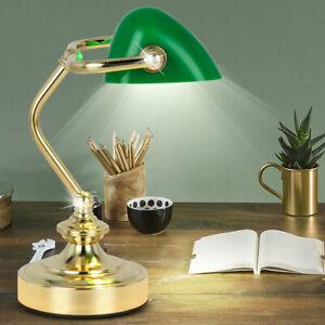 RETRO Tisch Lese Leuchte Banker Lampe Arbeits Zimmer Strahler Nacht Licht grün