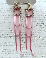 "KOREAN Women Fashion Pink Ribbon Tassel Earrings-PINK-4"""