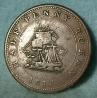 1814 Richard Hurd Sailing Ship Lower Canada Half Penny Token #4351